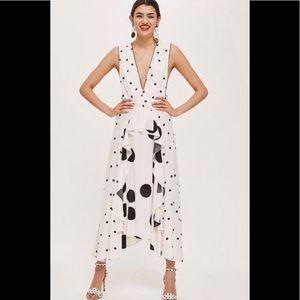 Topshop Mix Spotted Midi Dress, size 8.